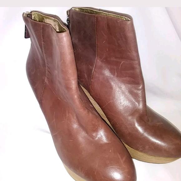 4e65250cb7dc Elaine Turner Shoes | Womens Brown Leather Wedge Boot | Poshmark
